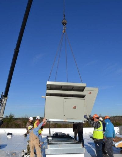 hvac unit installation at the rooftop